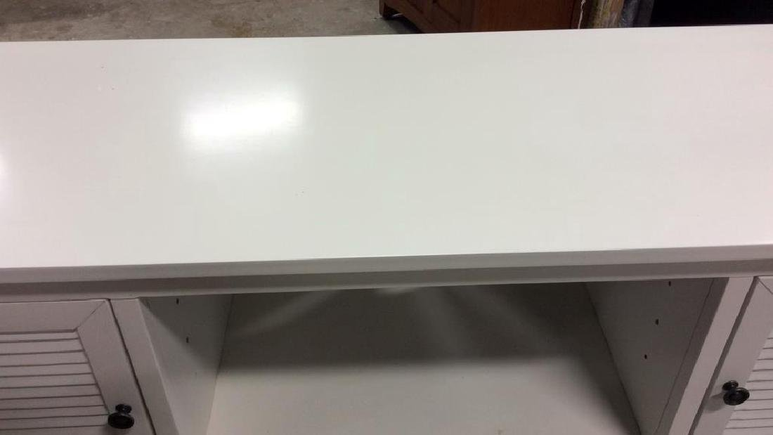 White wood TV Console with Cabinets Doors on each side - 4