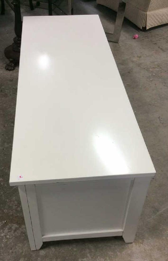White wood TV Console with Cabinets Doors on each side - 6