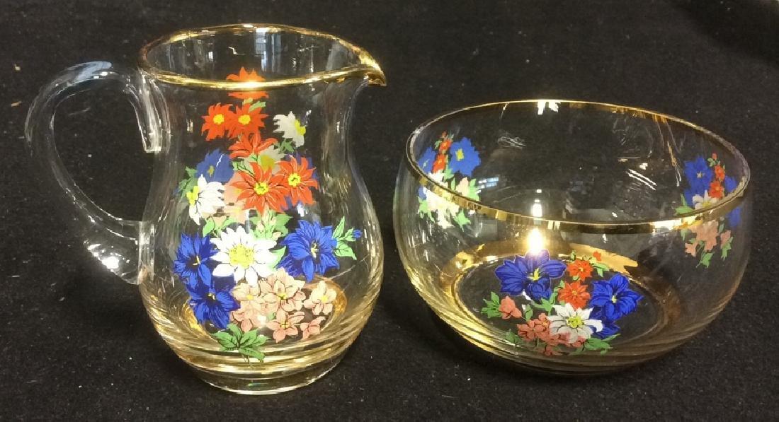 Floral Glass Creamer Sugar Set Delicate Glass set of