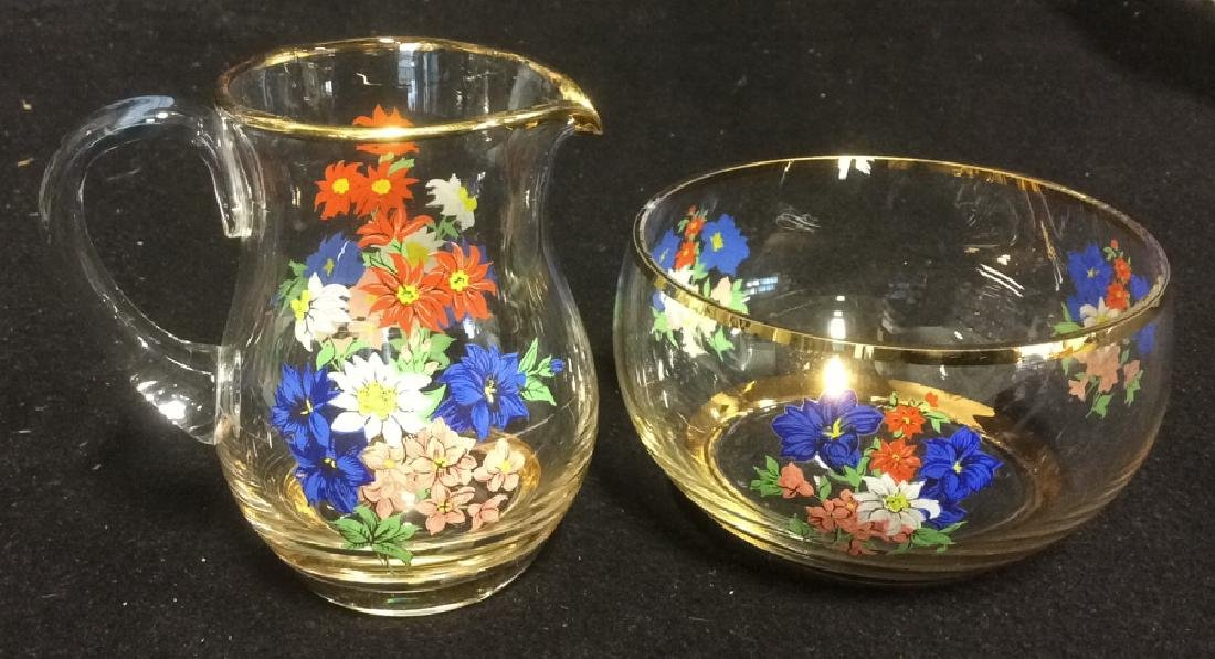Floral Glass Creamer Sugar Set Delicate Glass set of