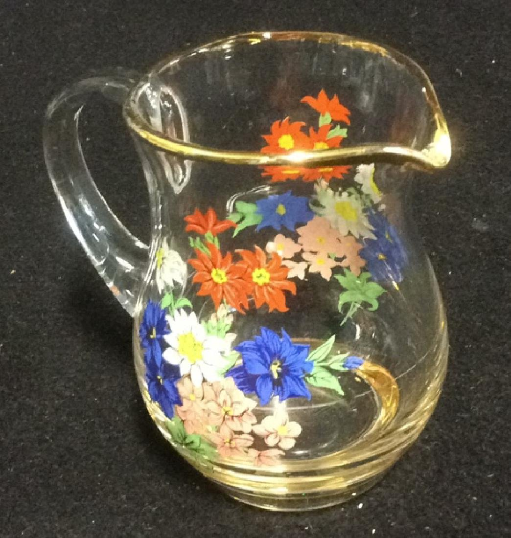 Floral Glass Creamer Sugar Set Delicate Glass set of - 4