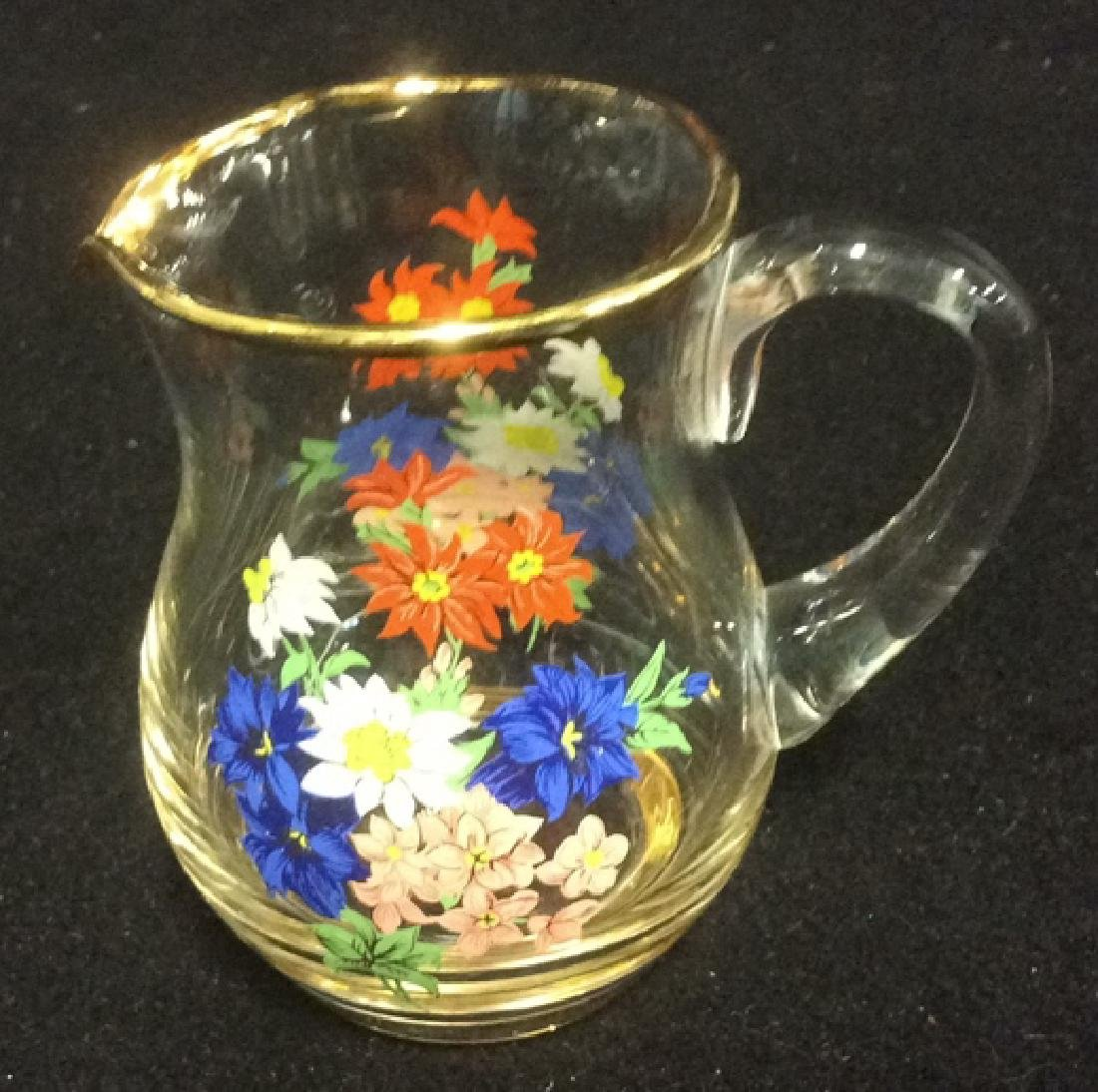 Floral Glass Creamer Sugar Set Delicate Glass set of - 5