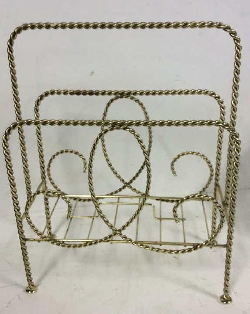 Brass Twist Form Magazine Rack Holder Curled rope twist