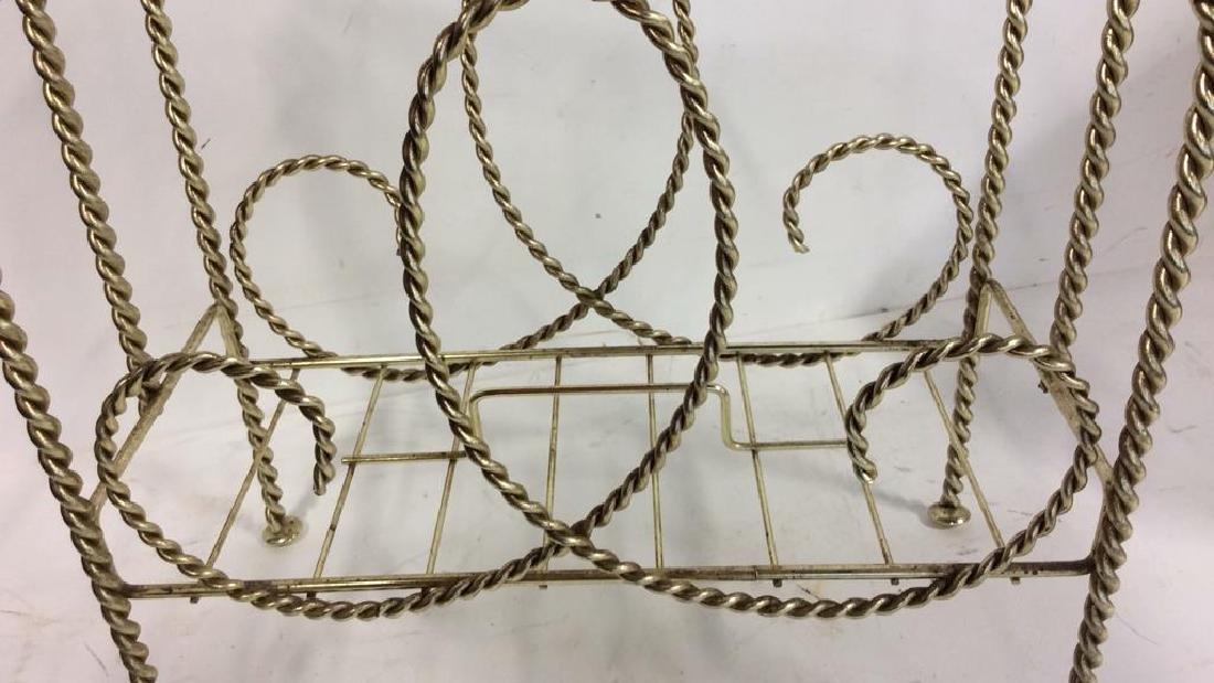 Brass Twist Form Magazine Rack Holder Curled rope twist - 2