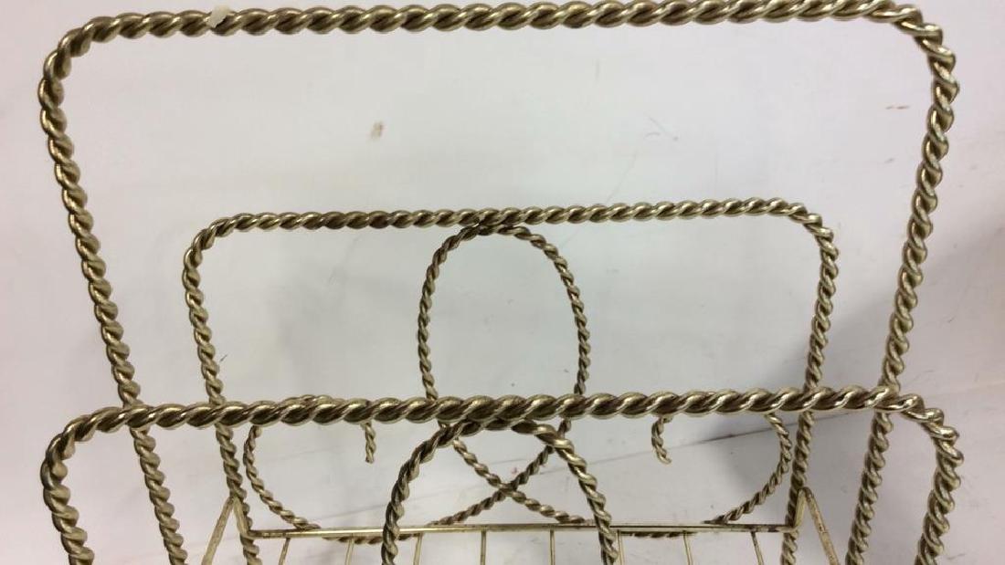Brass Twist Form Magazine Rack Holder Curled rope twist - 3
