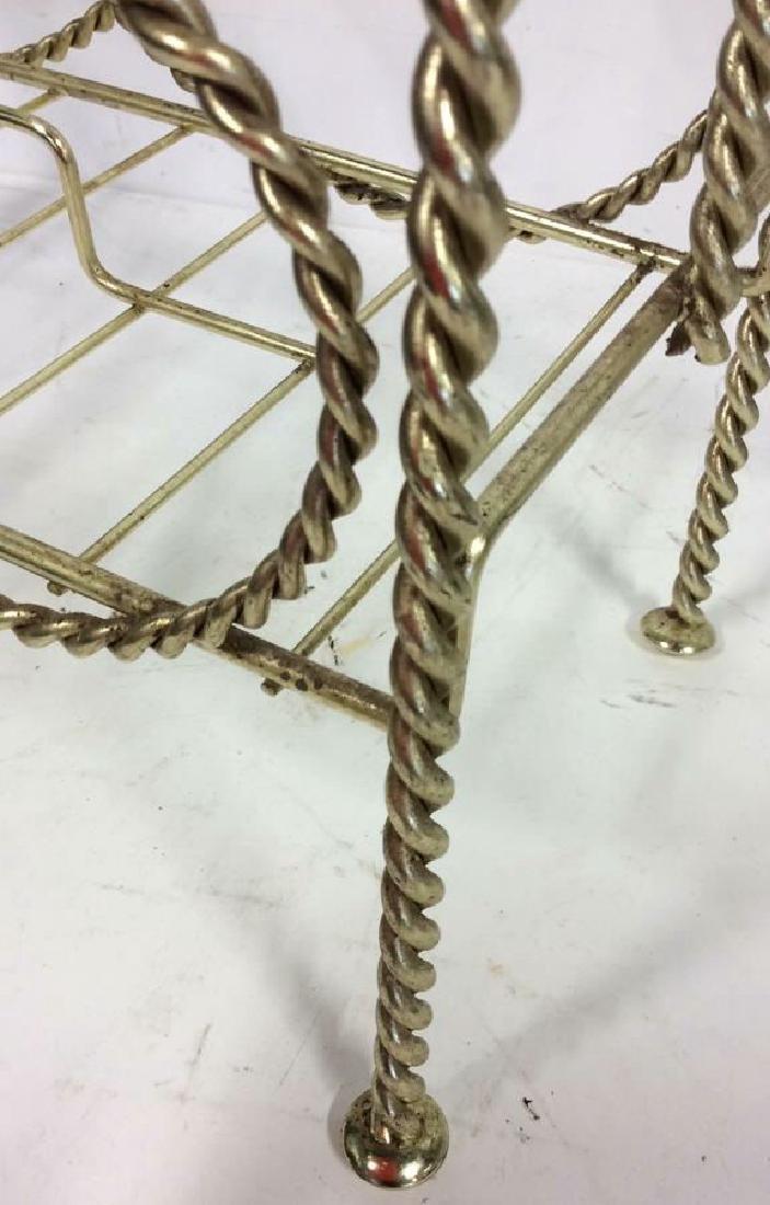 Brass Twist Form Magazine Rack Holder Curled rope twist - 4