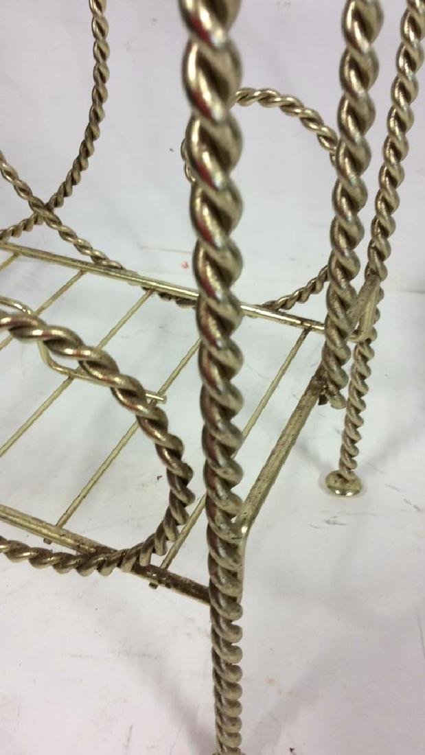 Brass Twist Form Magazine Rack Holder Curled rope twist - 5