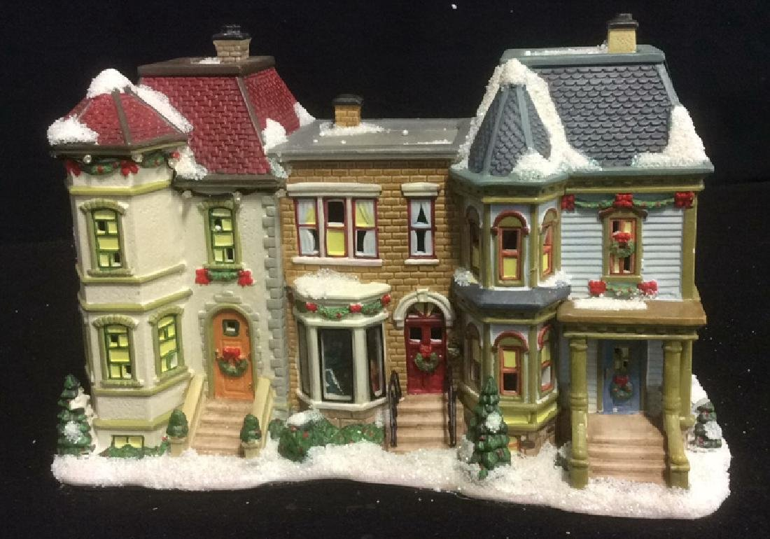 Holiday Lighted Ceramic City Row House From The Village