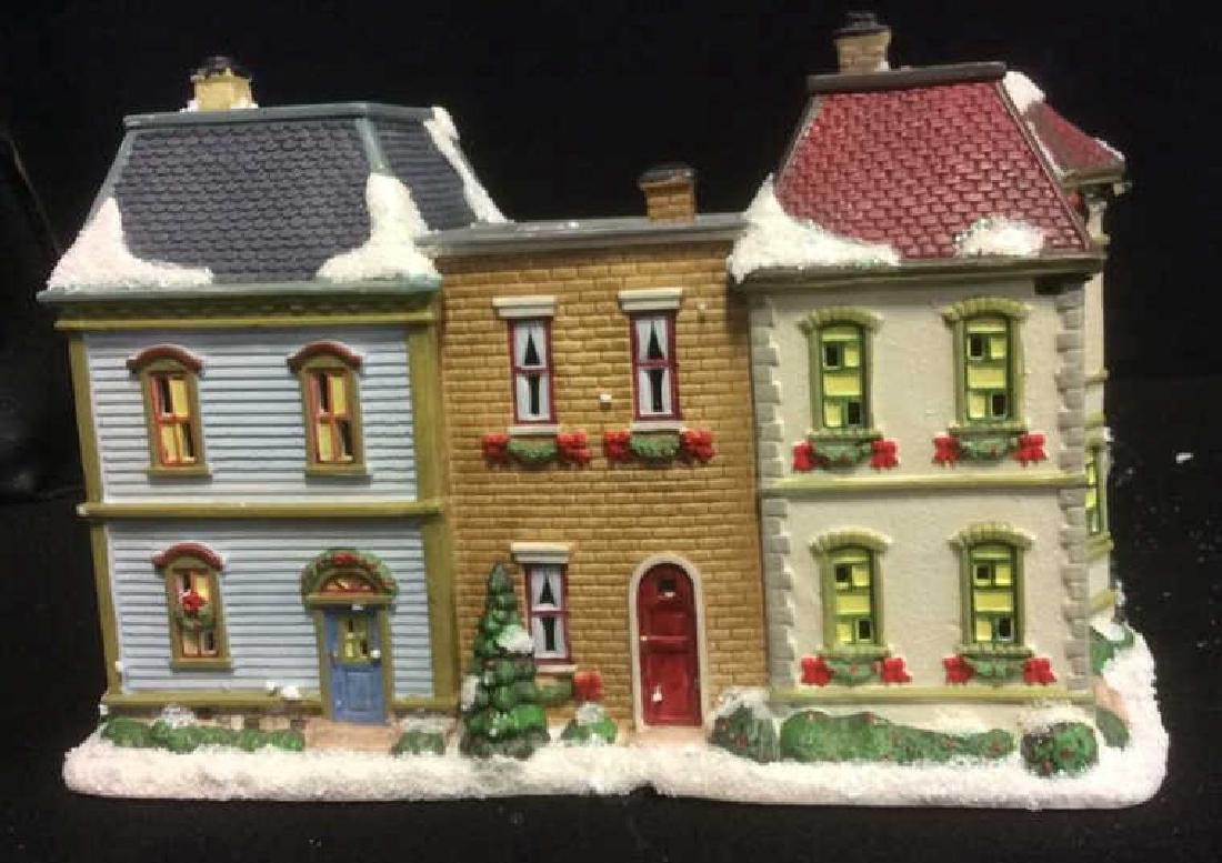 Holiday Lighted Ceramic City Row House From The Village - 3