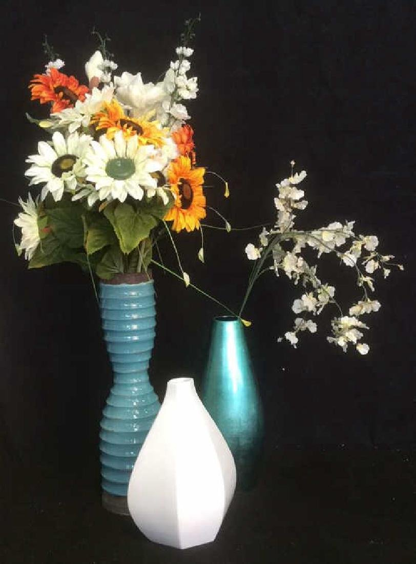 Group of Vases with Faux Flowers Lot of 3 vases with