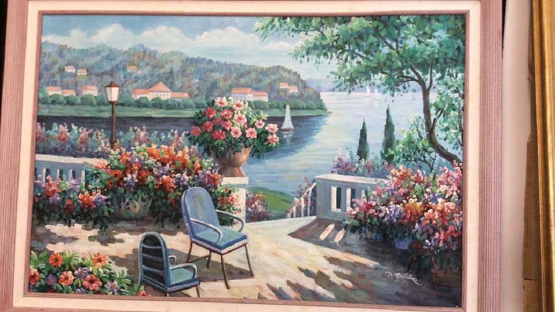 P. Taylor signed Garden Scene Painting Professionally