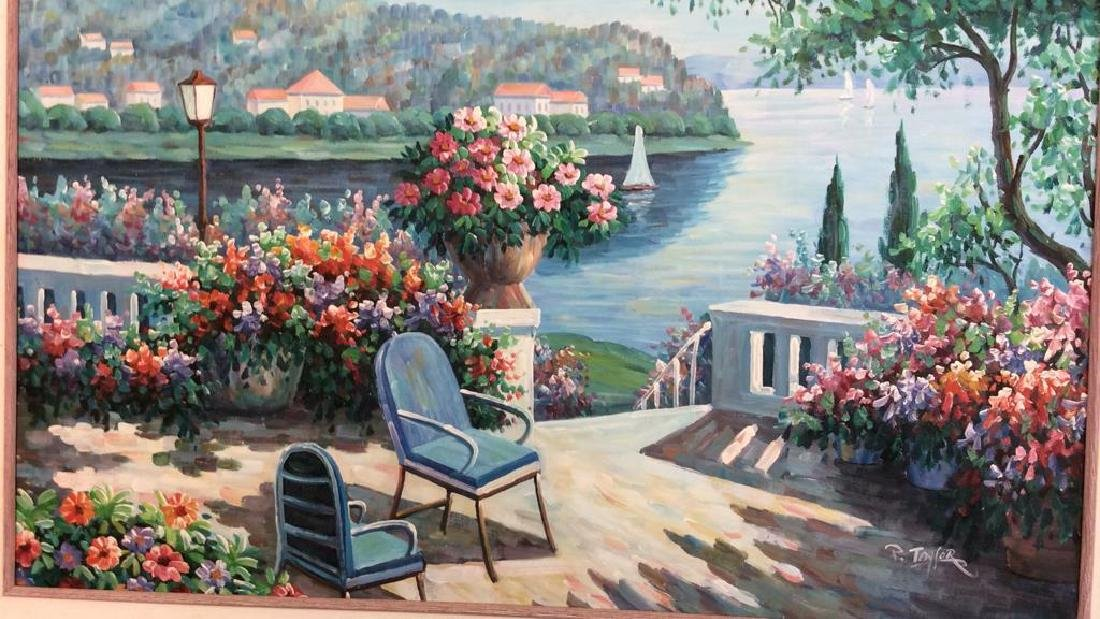 P. Taylor signed Garden Scene Painting Professionally - 2