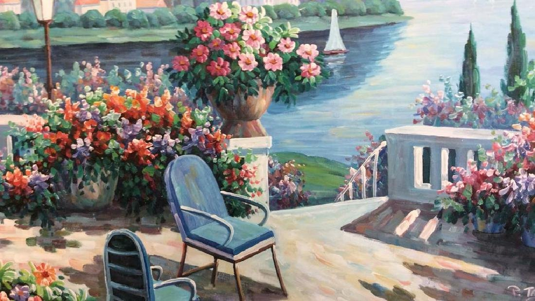 P. Taylor signed Garden Scene Painting Professionally - 3