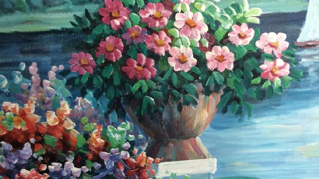 P. Taylor signed Garden Scene Painting Professionally - 4