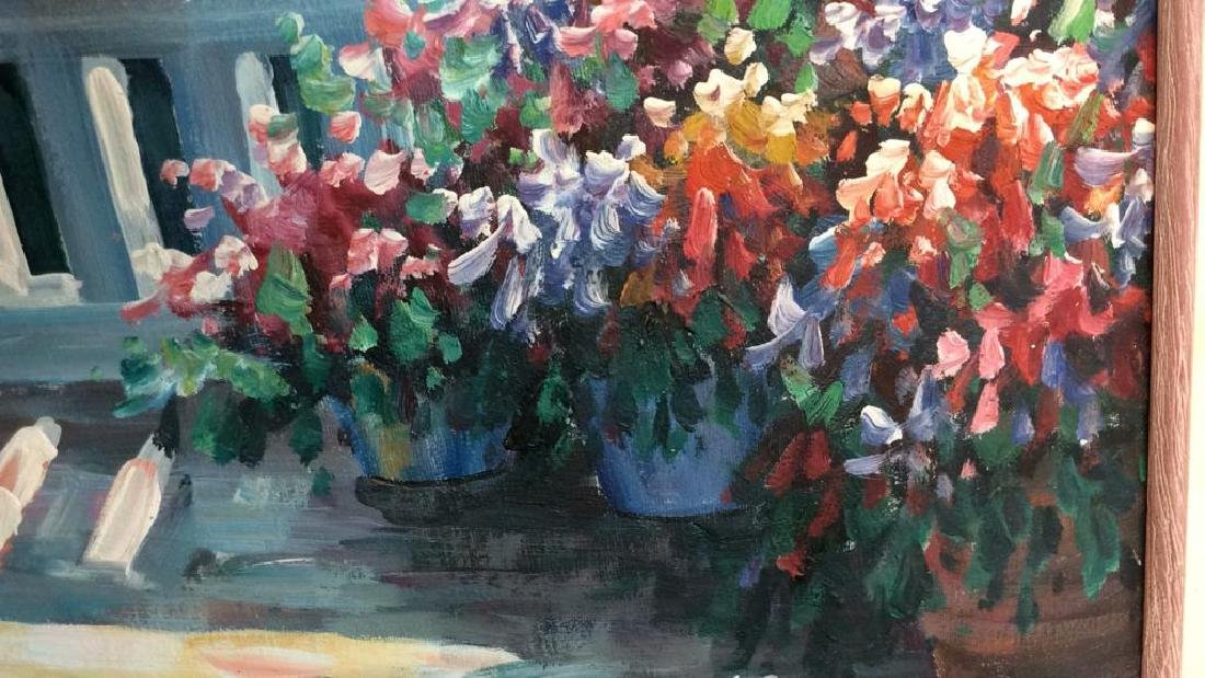 P. Taylor signed Garden Scene Painting Professionally - 5