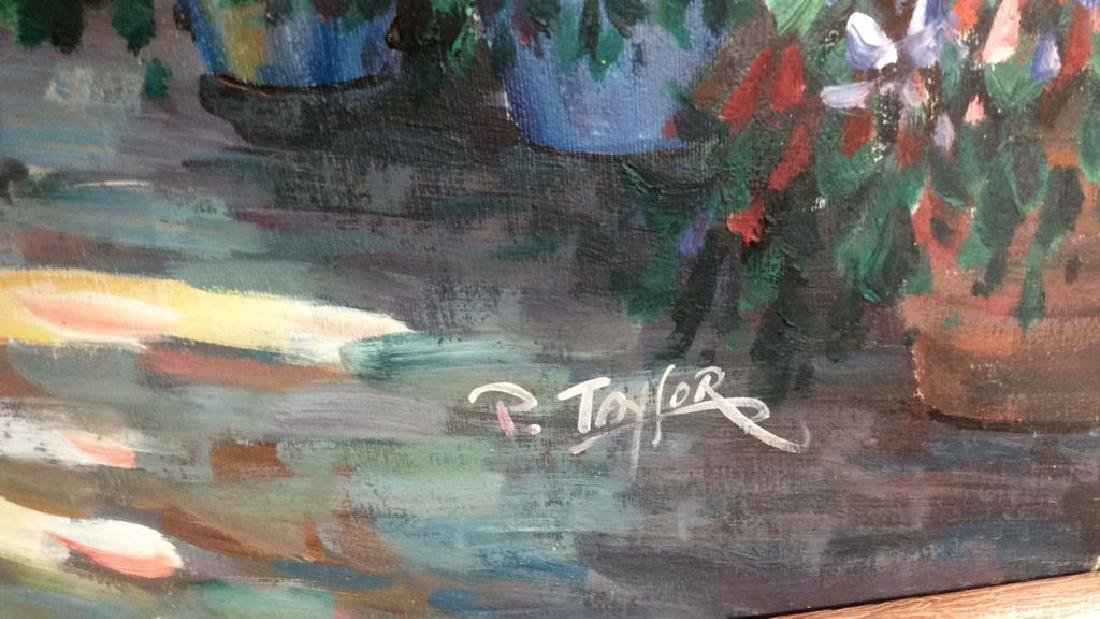 P. Taylor signed Garden Scene Painting Professionally - 6