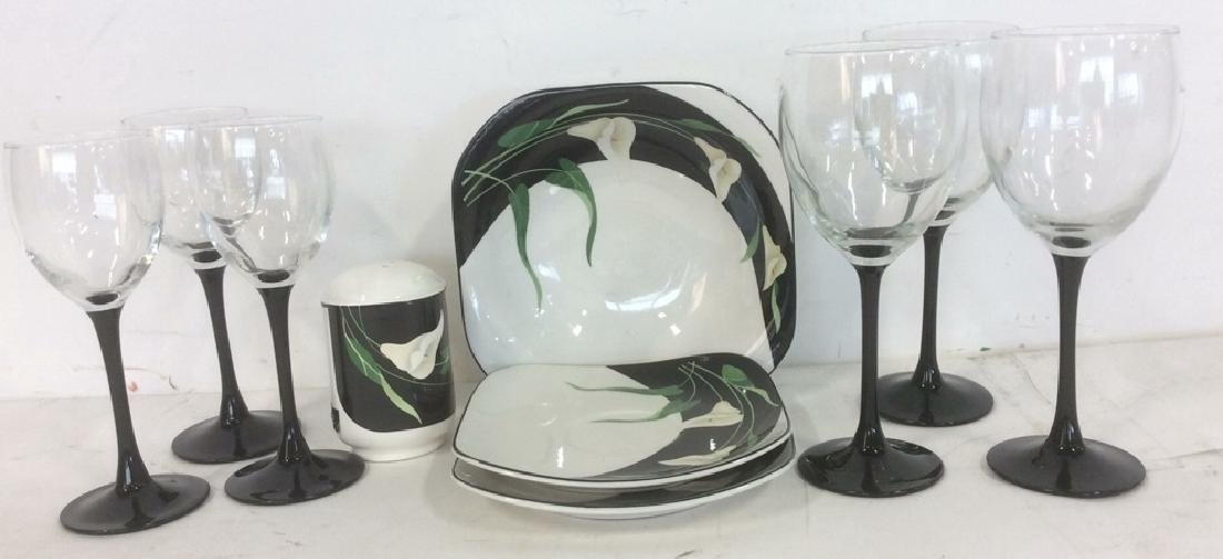 Group Black and White Stemware and Dishes Lot of 3