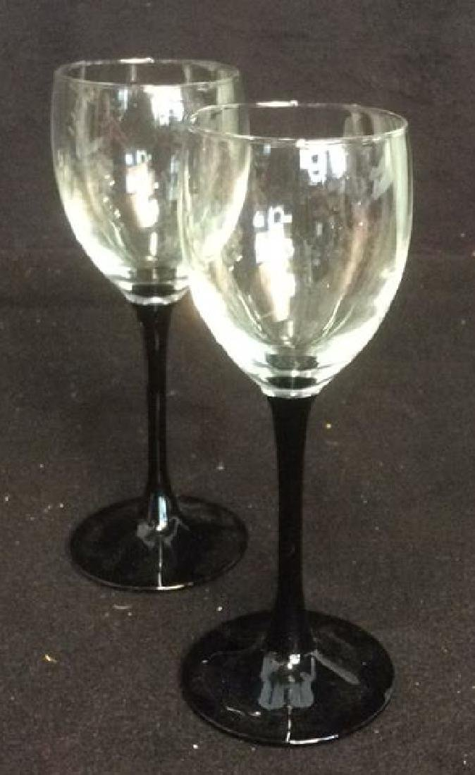 Group Black and White Stemware and Dishes Lot of 3 - 4
