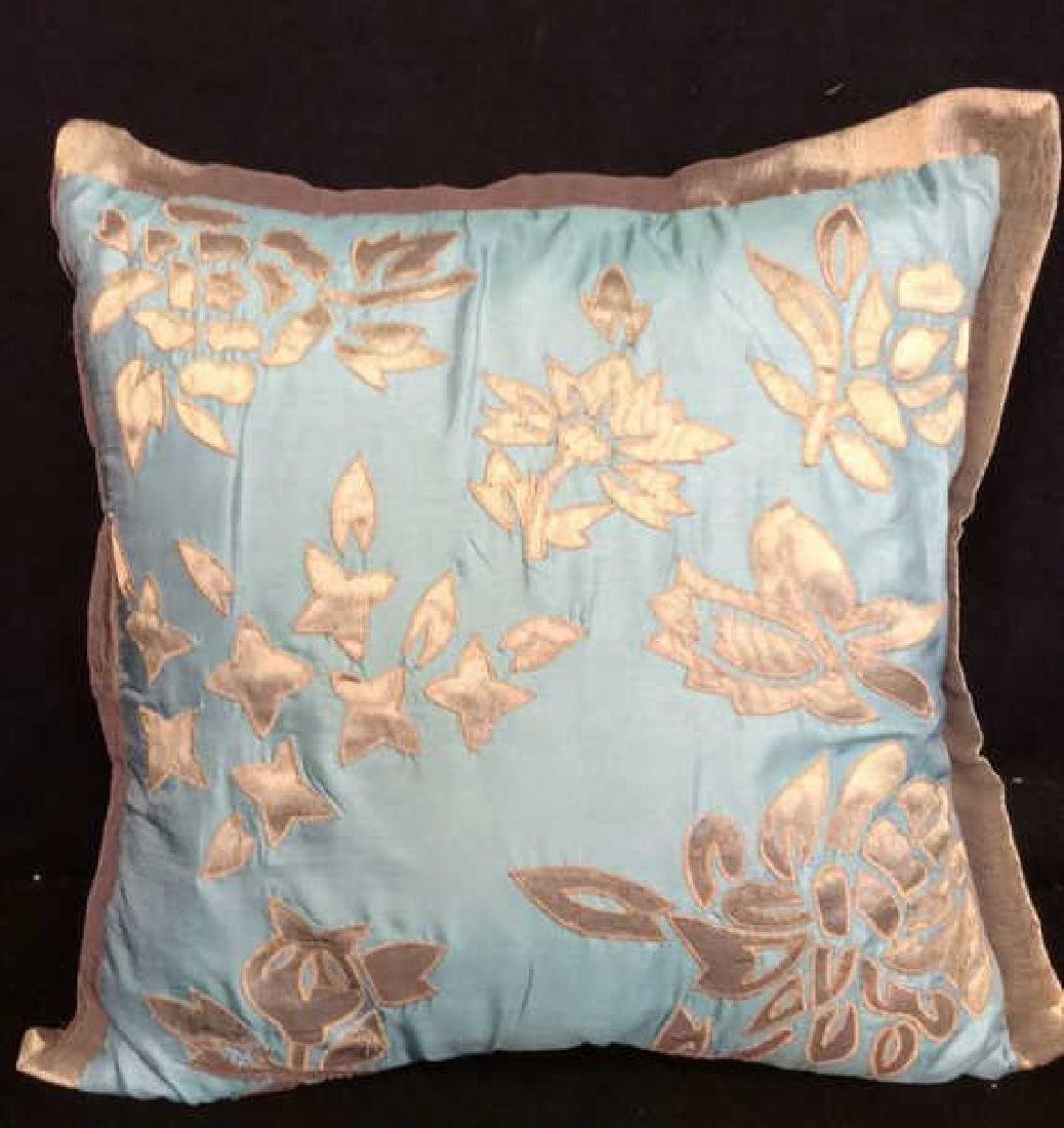 Turquoise Copper Silk Satin Throw Pillow Labeled for