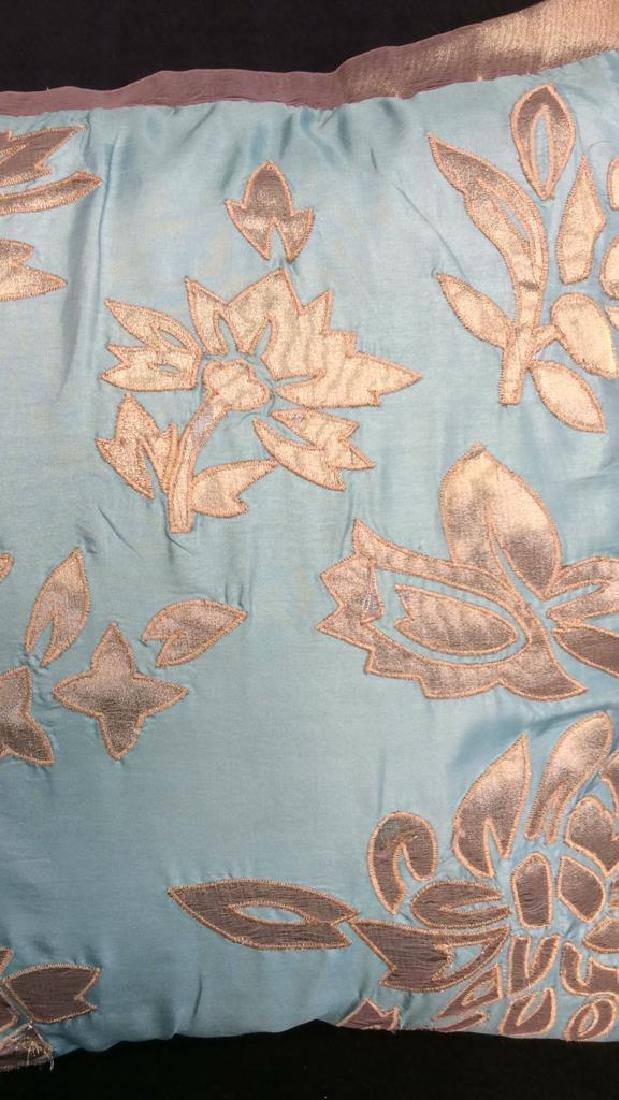 Turquoise Copper Silk Satin Throw Pillow Labeled for - 2