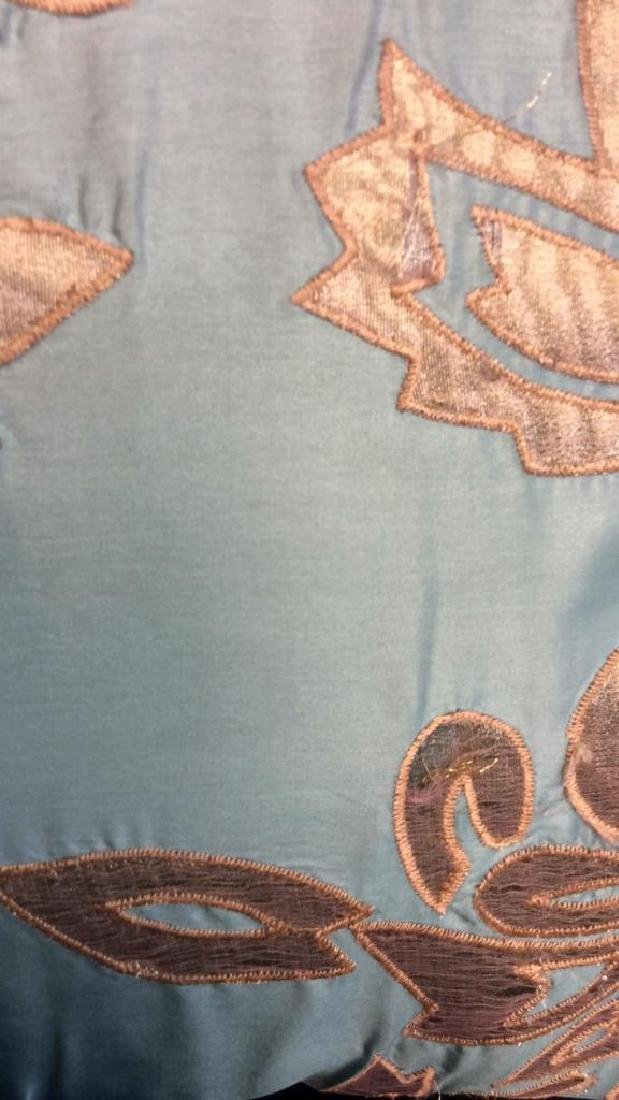 Turquoise Copper Silk Satin Throw Pillow Labeled for - 5