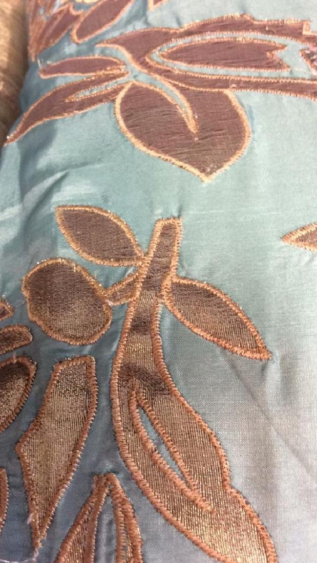 Turquoise Copper Silk Satin Throw Pillow Labeled for - 9