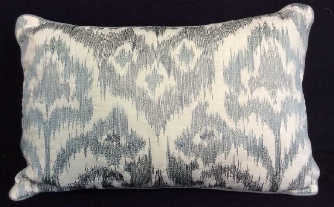 Turquoise Linen Ikat Pattern Throw Pillow Turquoise