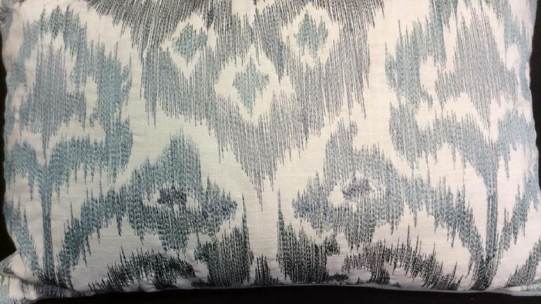 Turquoise Linen Ikat Pattern Throw Pillow Turquoise - 2