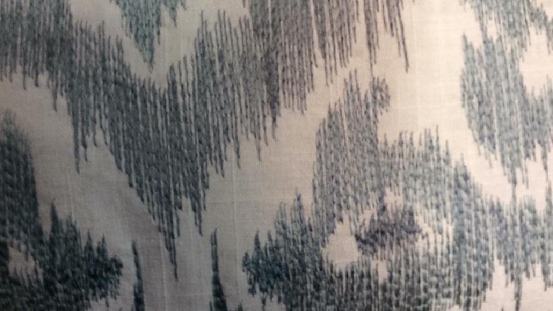Turquoise Linen Ikat Pattern Throw Pillow Turquoise - 3