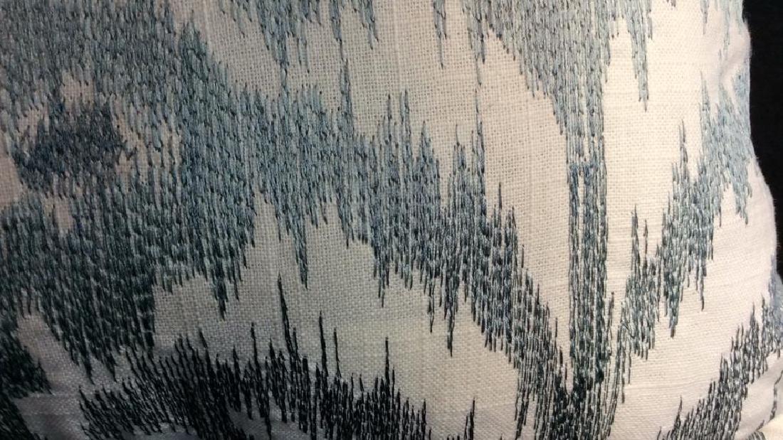 Turquoise Linen Ikat Pattern Throw Pillow Turquoise - 4