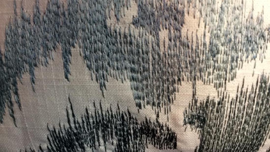 Turquoise Linen Ikat Pattern Throw Pillow Turquoise - 5