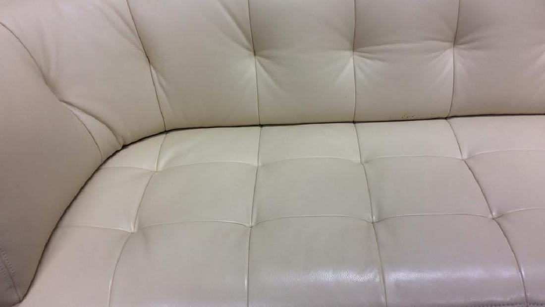 Vintage Safavieh Leather Tufted Sofa Beige leather sofa - 10