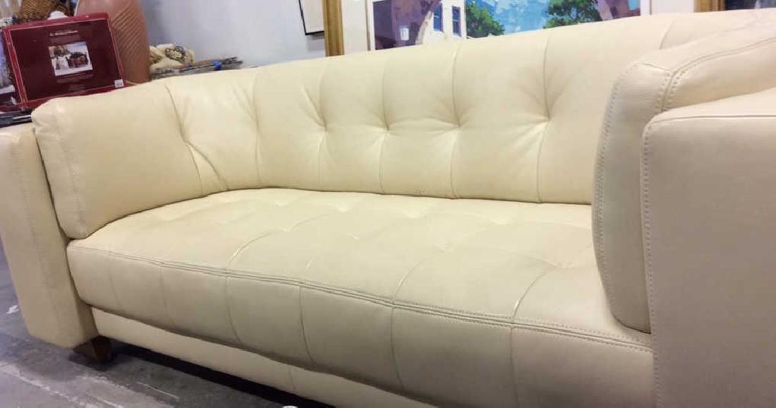 Vintage Safavieh Leather Tufted Sofa Beige leather sofa