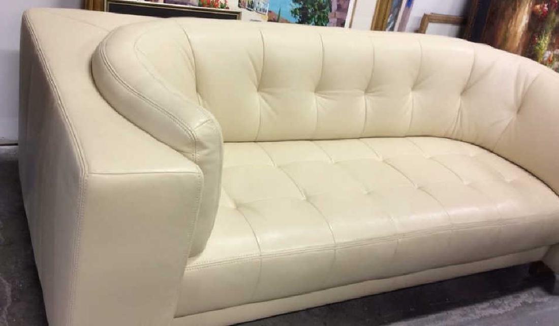 Vintage Safavieh Leather Tufted Sofa Beige leather sofa - 3