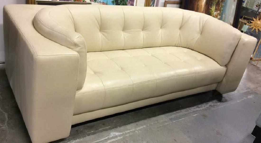 Vintage Safavieh Leather Tufted Sofa Beige leather sofa - 4