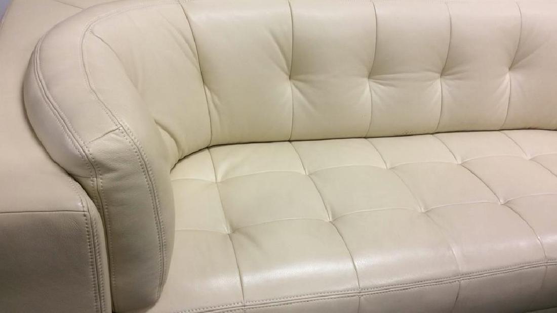 Vintage Safavieh Leather Tufted Sofa Beige leather sofa - 5