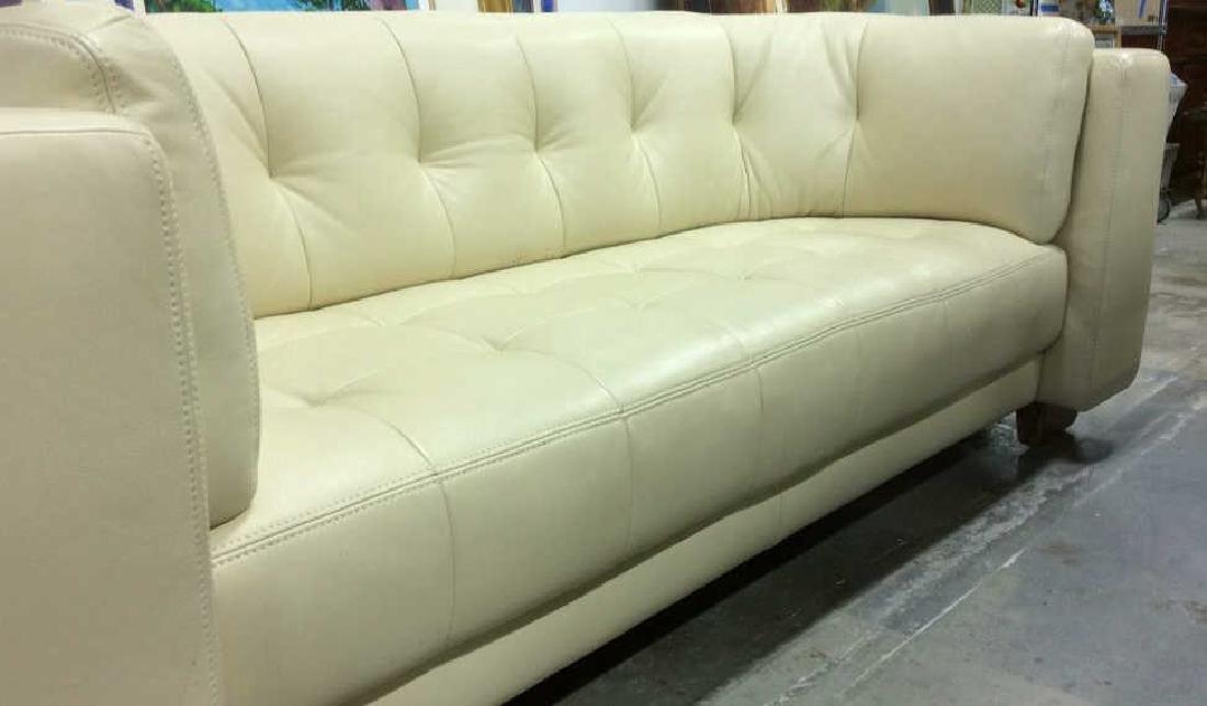 Vintage Safavieh Leather Tufted Sofa Beige leather sofa - 6