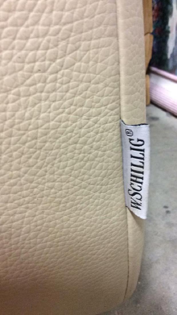 Vintage Safavieh Leather Tufted Sofa Beige leather sofa - 8