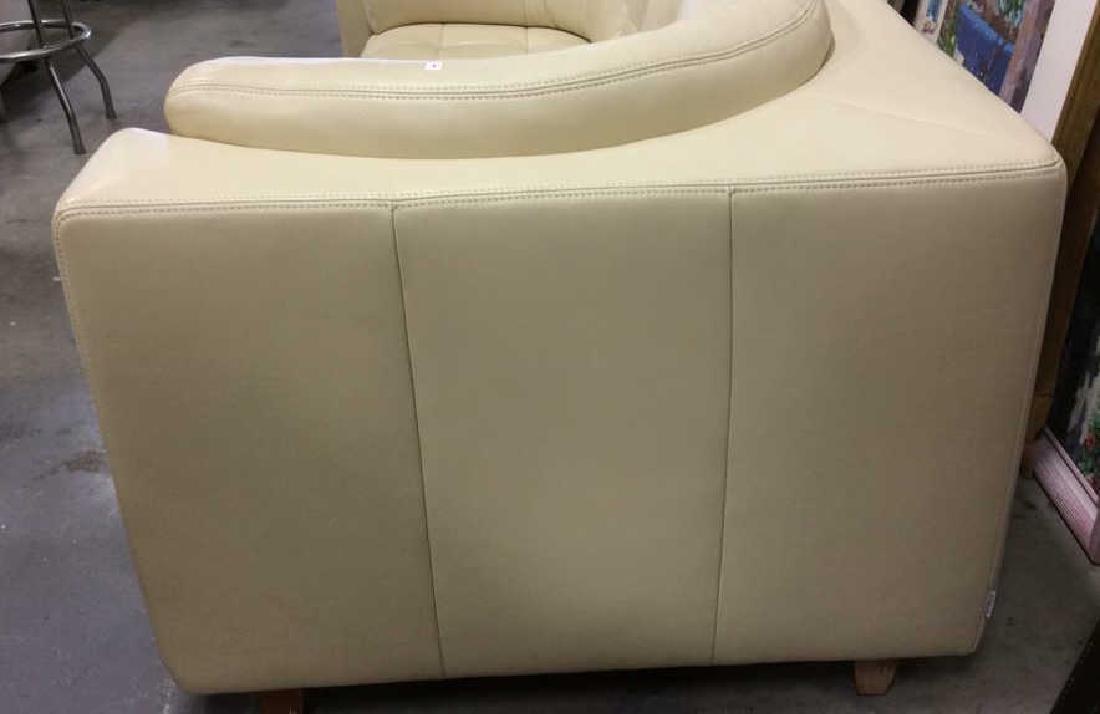 Vintage Safavieh Leather Tufted Sofa Beige leather sofa - 9
