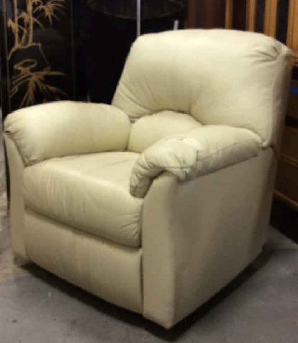 Eleanor Beige Leather Recliner Extra padded seat and