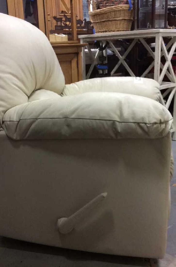 Eleanor Beige Leather Recliner Extra padded seat and - 2