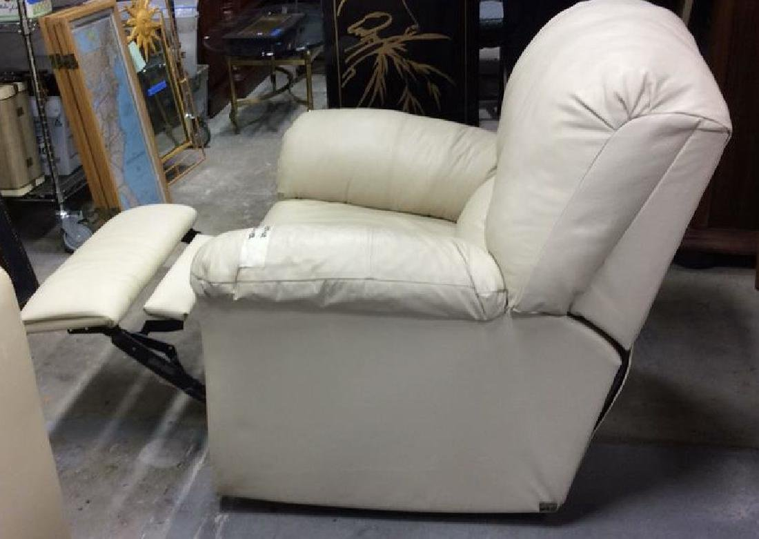 Eleanor Beige Leather Recliner Extra padded seat and - 7