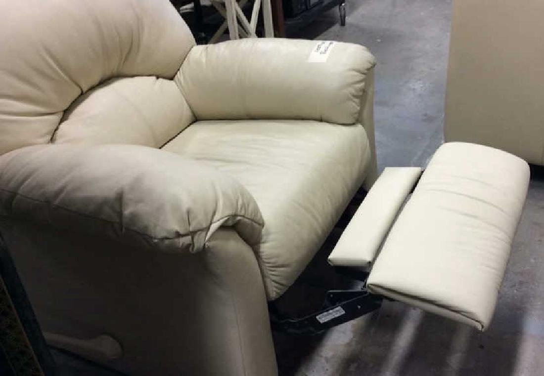 Eleanor Beige Leather Recliner Extra padded seat and - 9