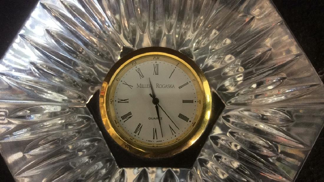 Crystal Pentagon Shaped Vintage Clock Dresser Top Heavy