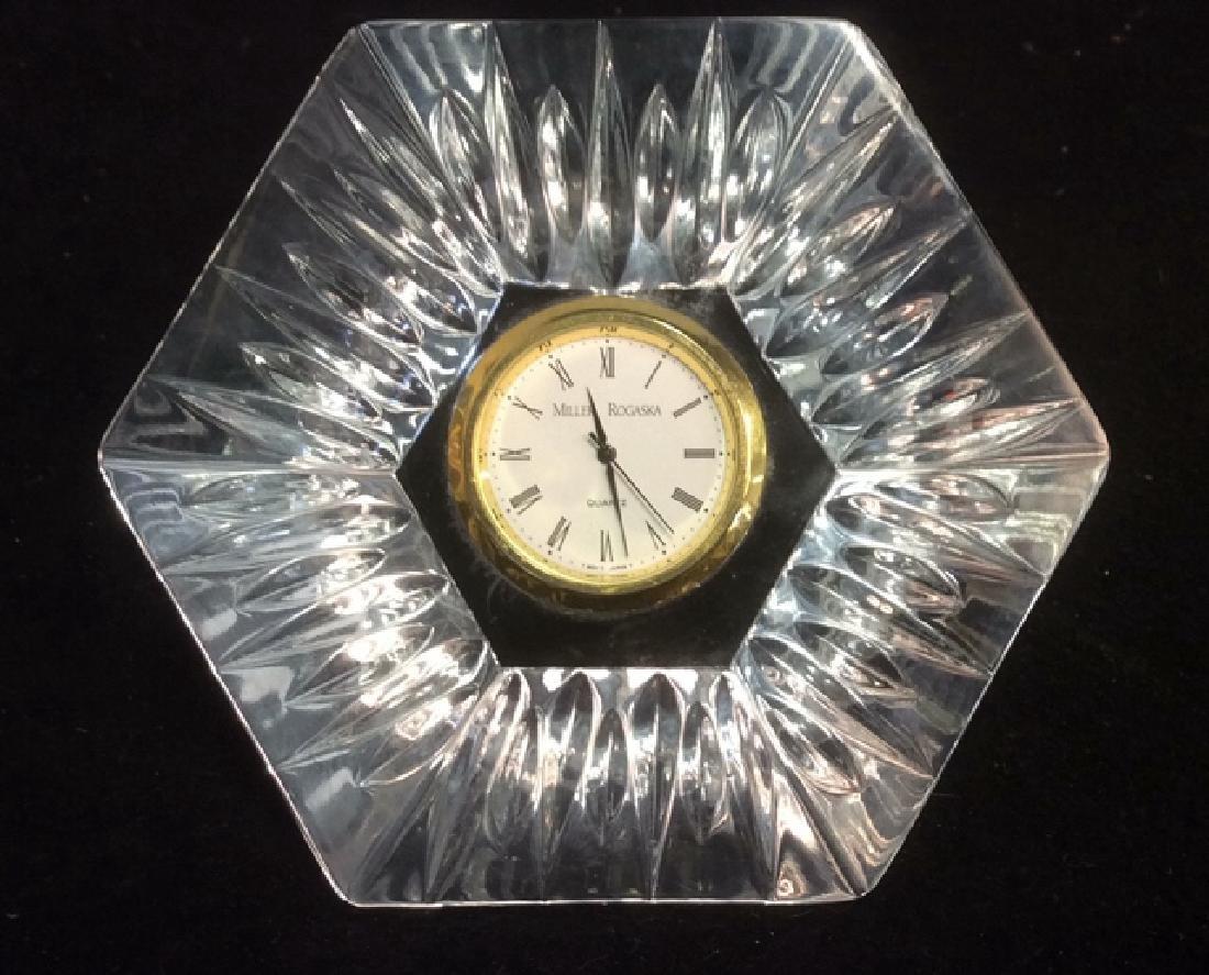 Crystal Pentagon Shaped Vintage Clock Dresser Top Heavy - 6