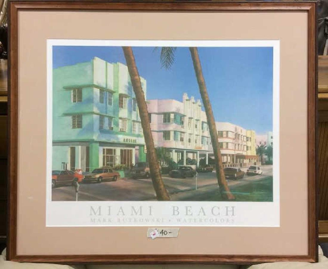 Framed Mark Rutkowski Miami Beach Poster Art gallery