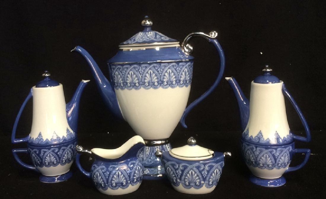 Vintage Bombay 7-Piece Porcelain Tea Set Blue and White
