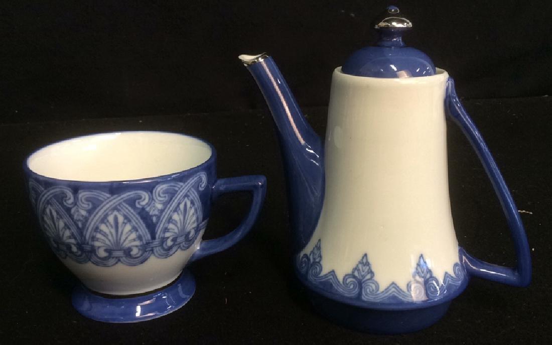 Vintage Bombay 7-Piece Porcelain Tea Set Blue and White - 2
