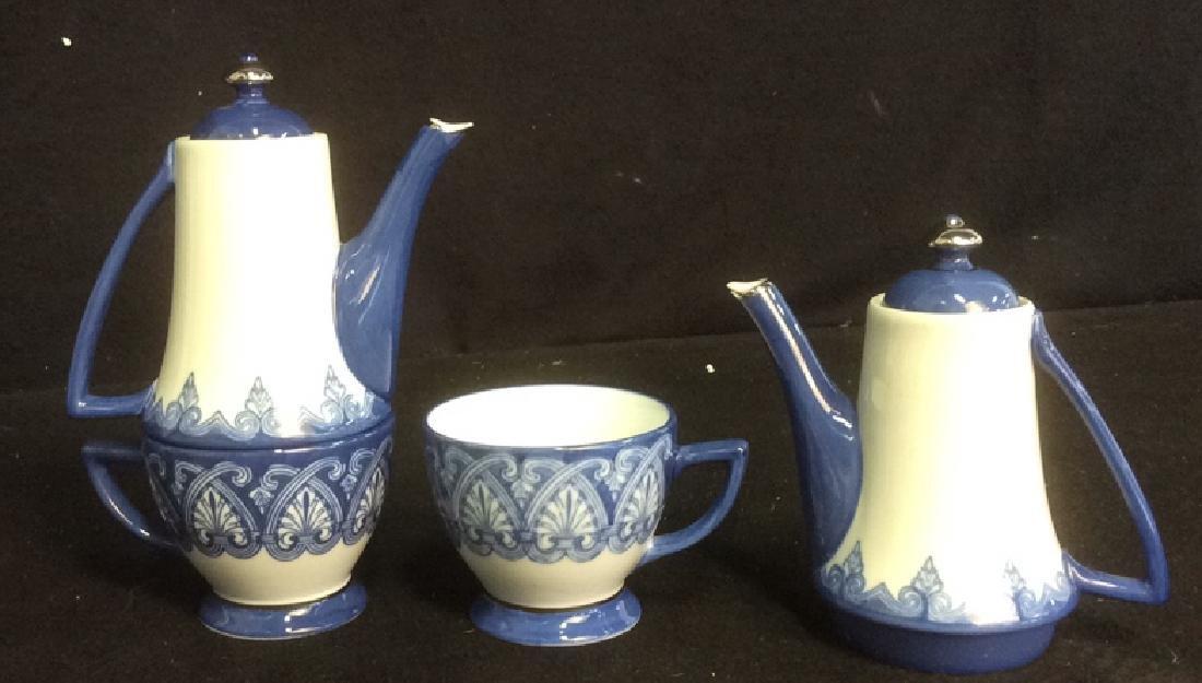 Vintage Bombay 7-Piece Porcelain Tea Set Blue and White - 3