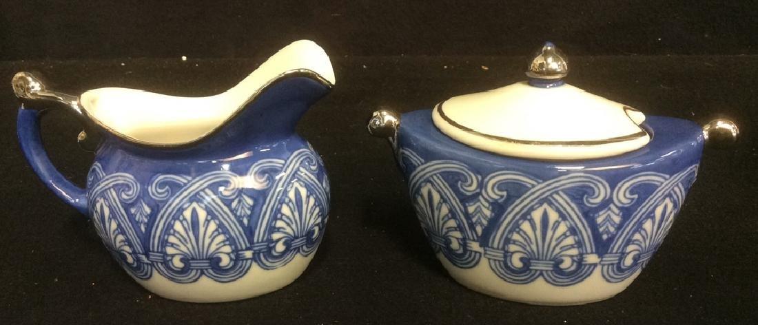 Vintage Bombay 7-Piece Porcelain Tea Set Blue and White - 4